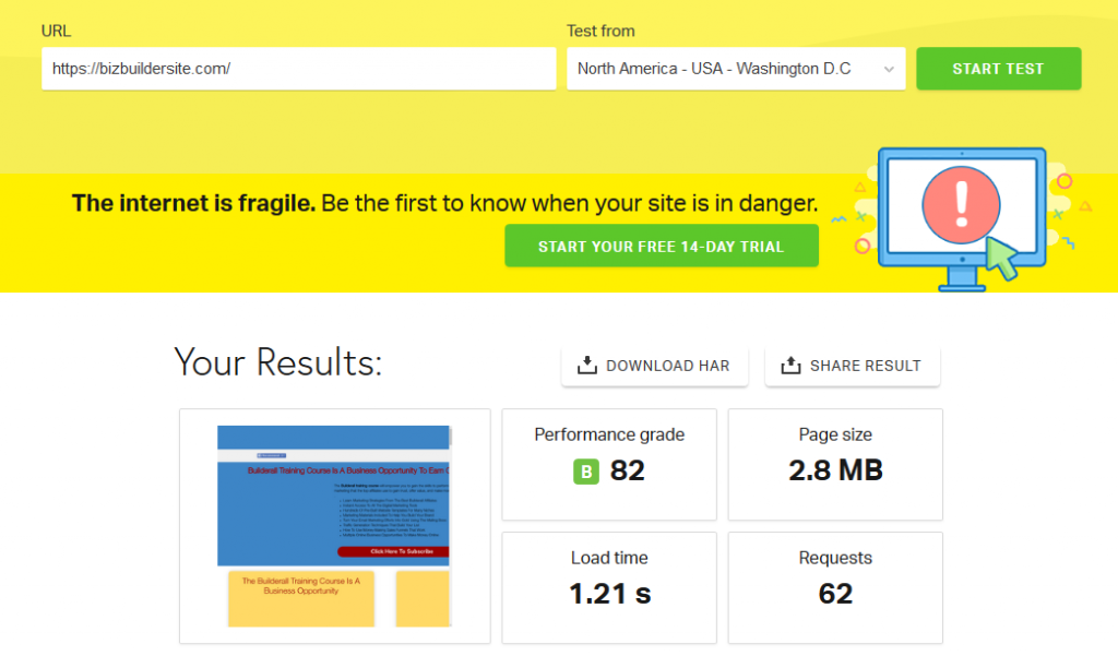 Website Speed Test For Builderall Site