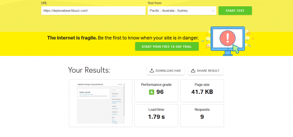 Website Speed Test From Sidney Australia