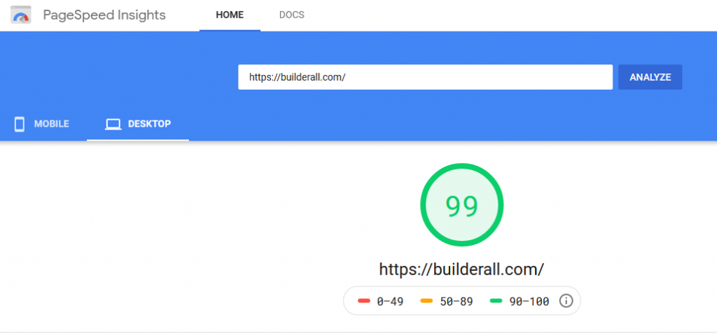 Page Speed Insights On Desktop For Builderall