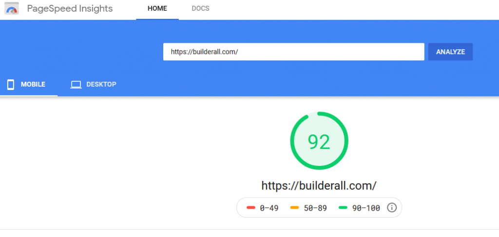 Page Speed Insights On Mobile For Builderall