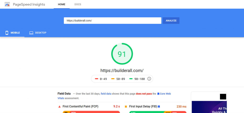 Builderall PageSpeed Insights