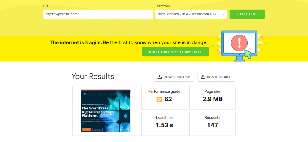 Pingdom Speed Test For WP Engine