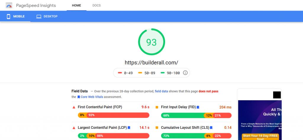 Builderall.com Website Speed Test For Mobile